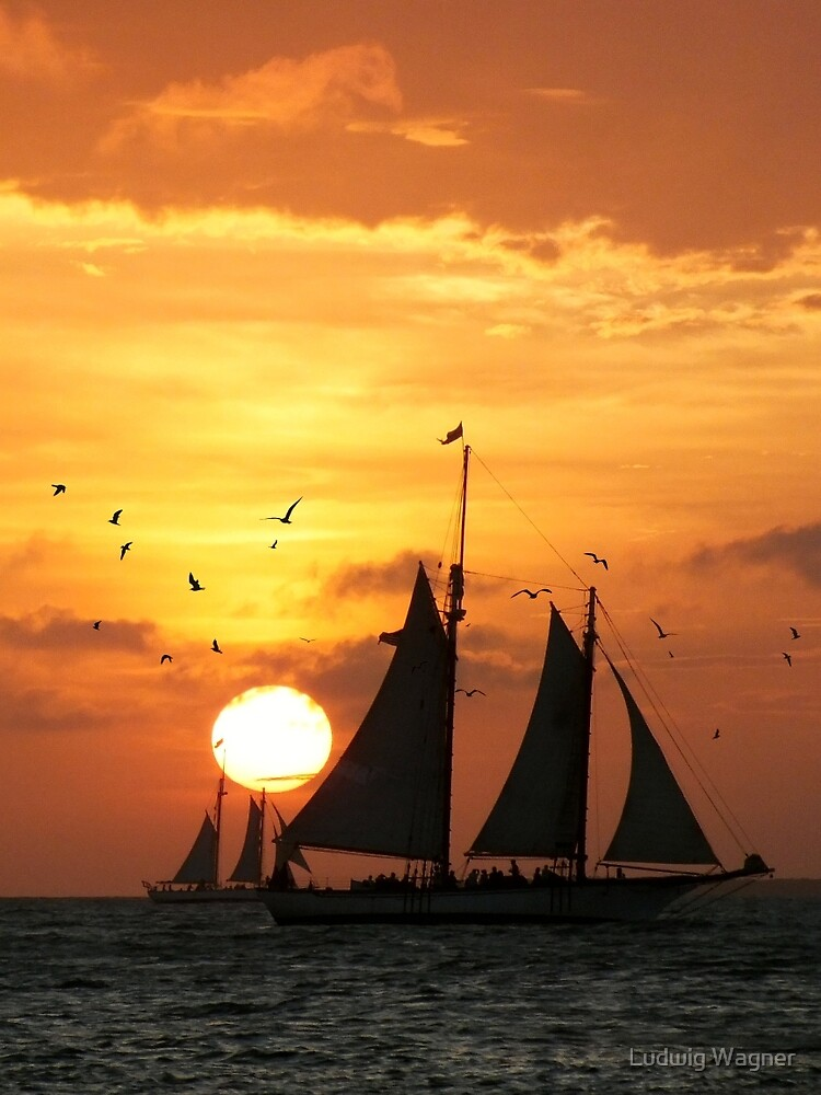 Sunset Sail in Key West II by Ludwig Wagner