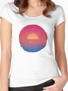 Sailboat in Sunset Women's Fitted Scoop T-Shirt