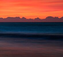 Red Sky Seascape - Emerald Isle, NC by Kenneth Keifer