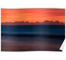 Red Sky Seascape - Emerald Isle, NC Poster