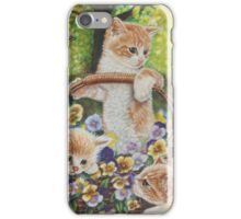 Cat Art - Cute Kittens in a Flowers Basket at Spring Time  iPhone Case/Skin
