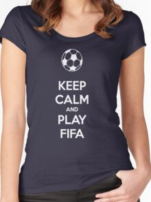 KEEP CALM AND PLAY FIFA Women's Fitted Scoop T-Shirt