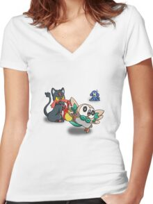 Litten Popplio and Rowlet Women's Fitted V-Neck T-Shirt
