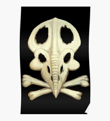 Protoceratops Skull and Crossbones Poster