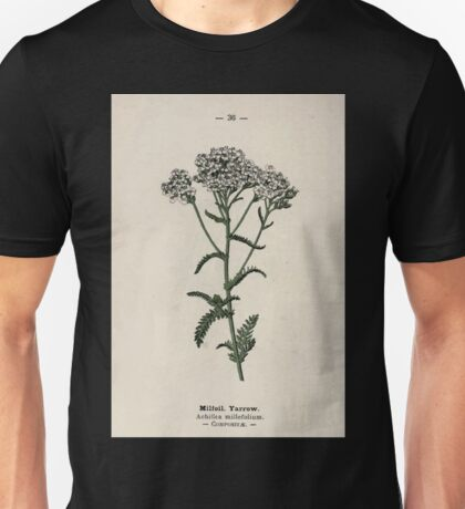 Wayside and woodland blossoms a pocket guide to British wild flowers for the country rambler  by Edward Step 1895 036 Milfoil Yarrow Unisex T-Shirt