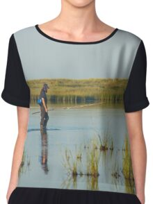 Fisherman Crossing Shallow Water | Fire Island, New York Chiffon Top