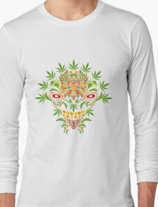 Psychedelic cannabis jungle demon Long Sleeve T-Shirt