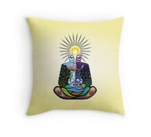 Psychedelic meditating Nature-man Throw Pillow