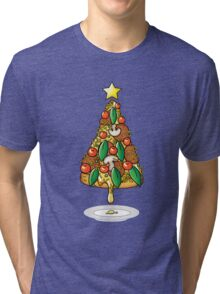 Funny Pizza Lover Christmas Tree Food Costumes T-Shirt Tri-blend T-Shirt