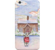 Snowy Cottage Schnauzer iPhone Case/Skin