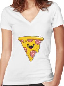 I Moustache Pizza Women's Fitted V-Neck T-Shirt