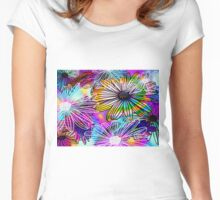 Psychedelic Flowers Women's Fitted Scoop T-Shirt