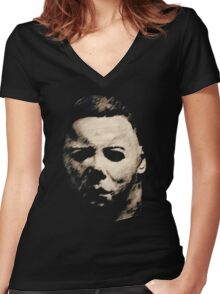 Michael Myers Women's Fitted V-Neck T-Shirt