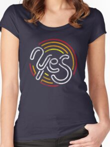 Yes - Retro Typographic Art Women's Fitted Scoop T-Shirt
