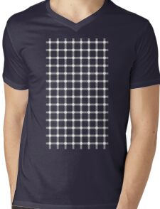 Optical illusion black grid with white dots Mens V-Neck T-Shirt