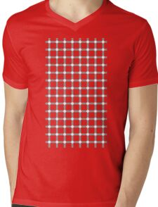 Optical illusion black grid with white dots Mens V-Neck T-Shirt