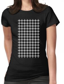 Optical illusion black grid with white dots Womens Fitted T-Shirt