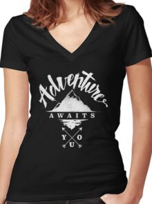 Adventure Awaits You Women's Fitted V-Neck T-Shirt