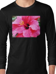 Pink Hibiscus with Spring Raindrops  Long Sleeve T-Shirt