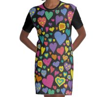 The pattern in the heart. Valentine's Day Graphic T-Shirt Dress