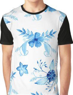 Blue Watercolor Vintage Flowers Graphic T-Shirt