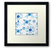 Blue Watercolor Vintage Flowers Framed Print