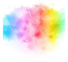 Rainbow abstract artistic watercolor splash background Photographic Print