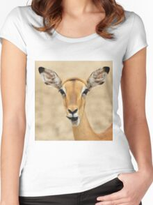 Impala Fun - Wildlife Humor from Africa.  Women's Fitted Scoop T-Shirt
