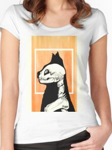 Skeleton cat Women's Fitted Scoop T-Shirt