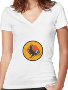 Rooster Crowing Shutter Circle Retro Women's Fitted V-Neck T-Shirt