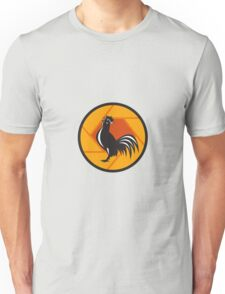 Rooster Crowing Shutter Circle Retro Unisex T-Shirt