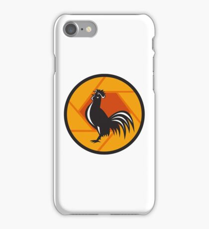 Rooster Crowing Shutter Circle Retro iPhone Case/Skin