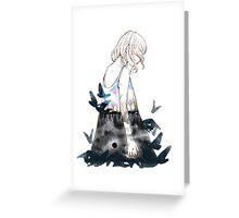 #25 Parallel - Black moon flying birds Greeting Card