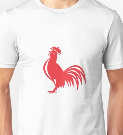 Chicken Rooster Crowing Retro Unisex T-Shirt