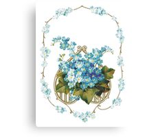 Forget-me-nots framed in flowers Canvas Print