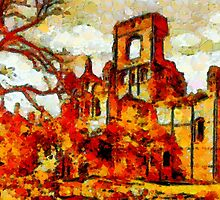 A Leonid style digital painting of  Kirkstall Abbey, Yorkshire, England founded 1152 by Dennis Melling