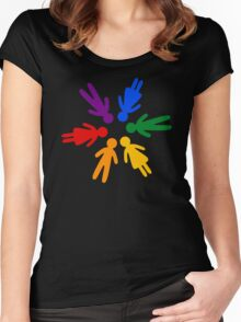 Rainbow People Circle (black background) Women's Fitted Scoop T-Shirt
