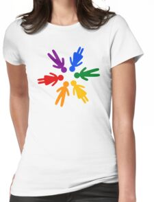 Rainbow People Circle (black background) Womens Fitted T-Shirt