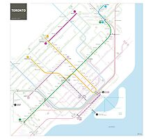 Toronto Metro and Bus map Photographic Print