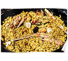 Traditional Valencian Paella With Rice And Seafood Poster