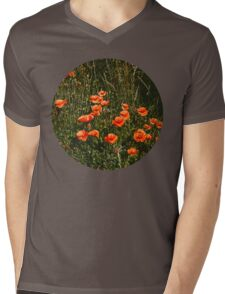 Poppy Field Mens V-Neck T-Shirt
