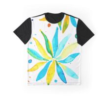 Turquoise and Yellow Flower Splash Graphic T-Shirt