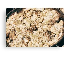 Traditional Valencian Paella With Rice And Chicken Canvas Print