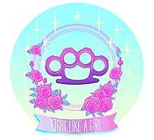 Fight like a girl. Pink glamour brass knuckles. Photographic Print