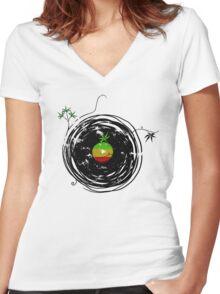 Reggae Music - Vinyl Records Cannabis Leaf - DJ inspired design Women's Fitted V-Neck T-Shirt