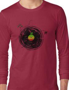 Reggae Music - Vinyl Records Cannabis Leaf - DJ inspired design Long Sleeve T-Shirt