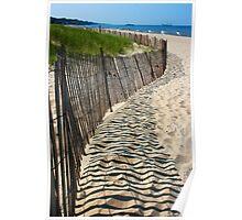 Beach Fence Shadows, Lake Michigan Poster