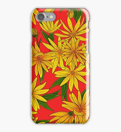 Flowers and leaves of artichoke on a pink background. iPhone Case/Skin