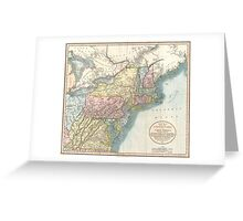 Vintage Map of New England (1821)  Greeting Card