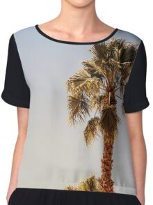 Green Palm Trees On Clear Blue Sky Chiffon Top